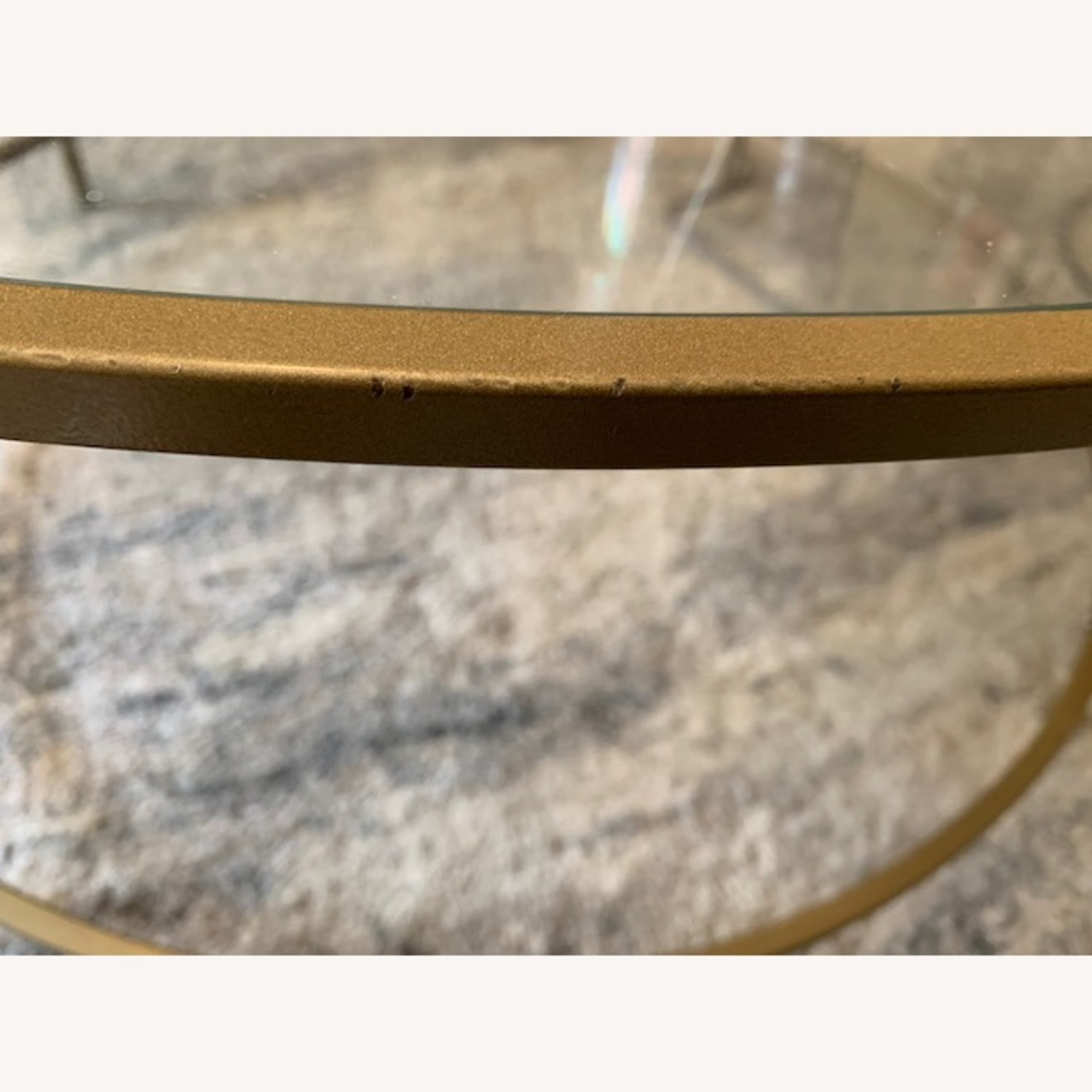 Round Gold Framed Glass Coffee Table - image-3