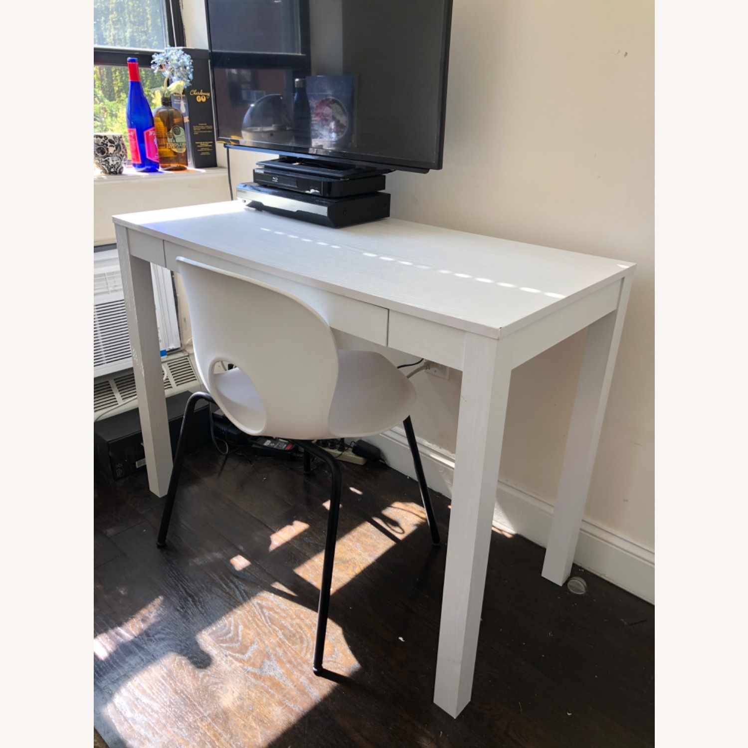 White Wooden Desk with Chair - image-1