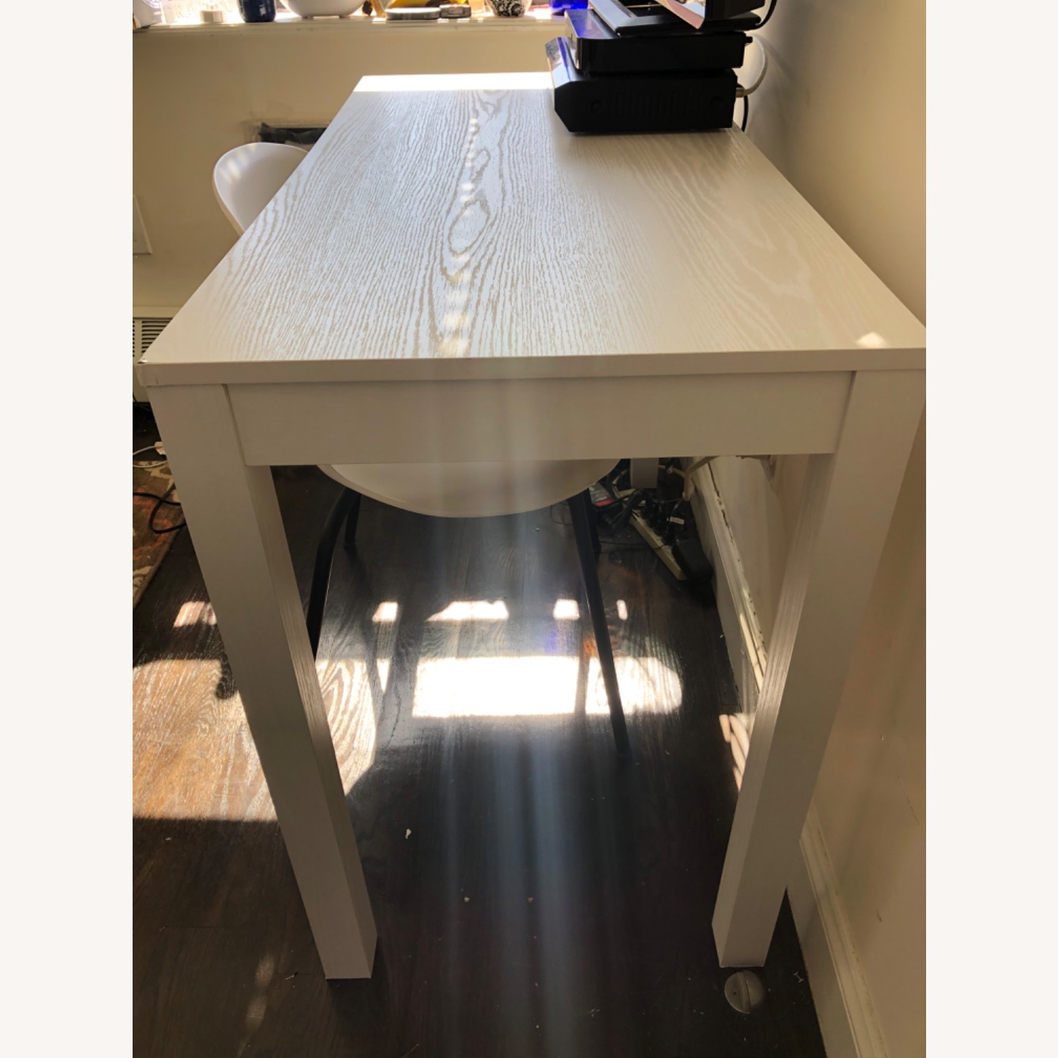 White Wooden Desk with Chair - image-5