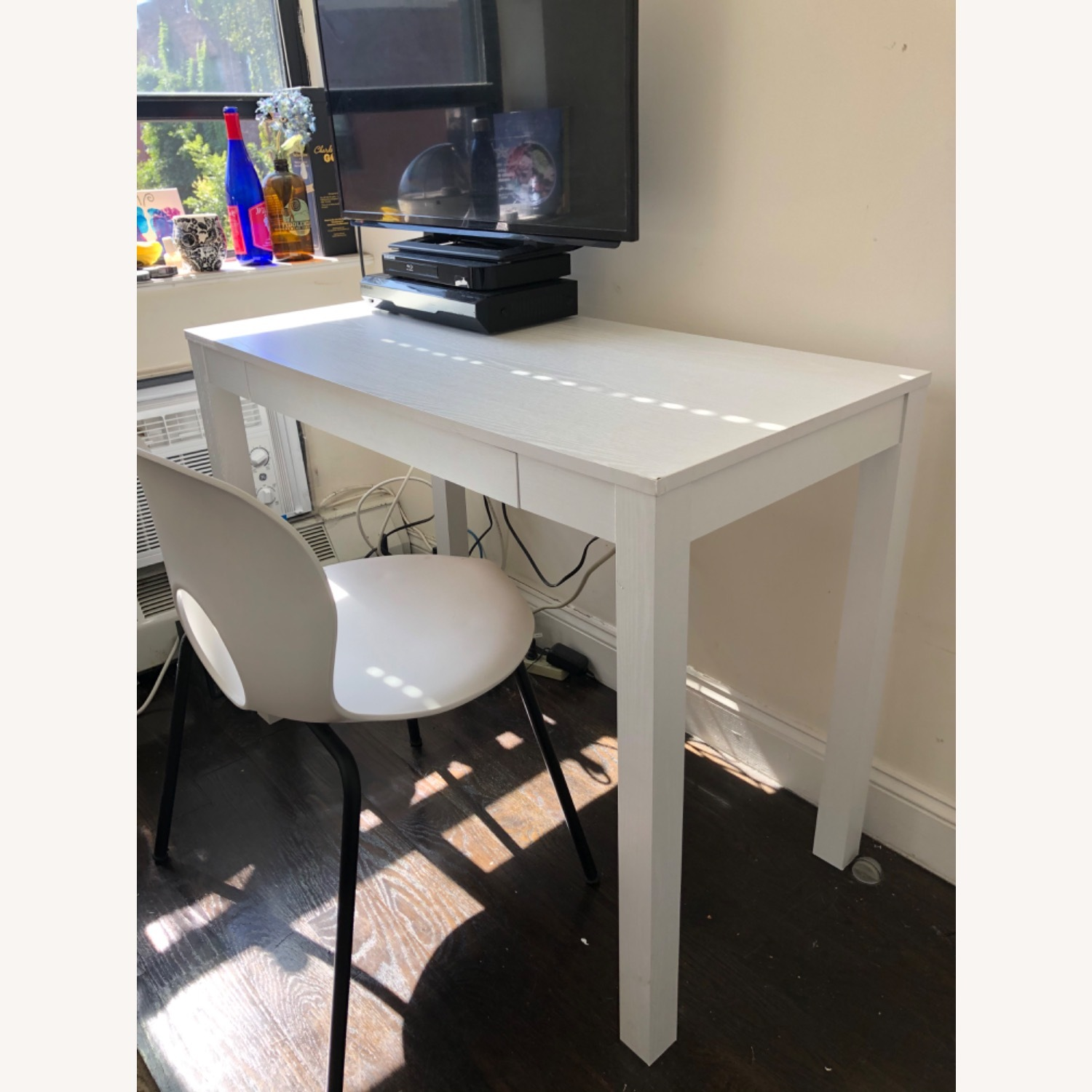 White Wooden Desk with Chair - image-2
