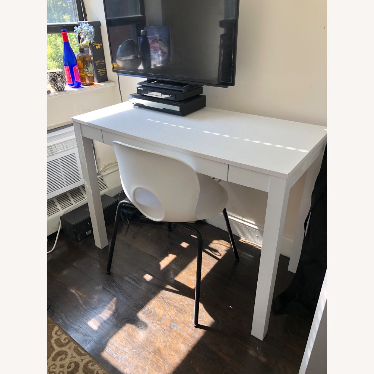 White Wooden Desk with Chair - image-4