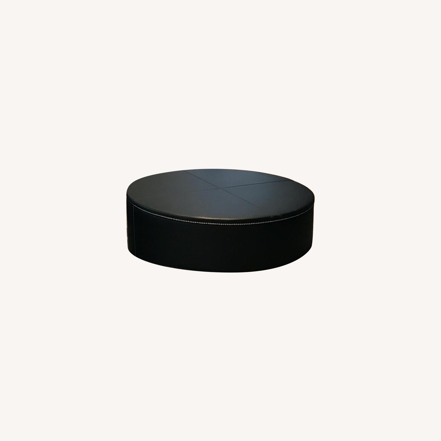 DDC Black Leather Ottoman - image-0