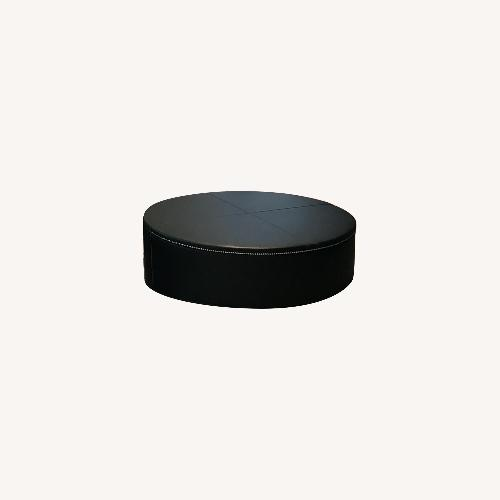 Used DDC Black Leather Ottoman for sale on AptDeco