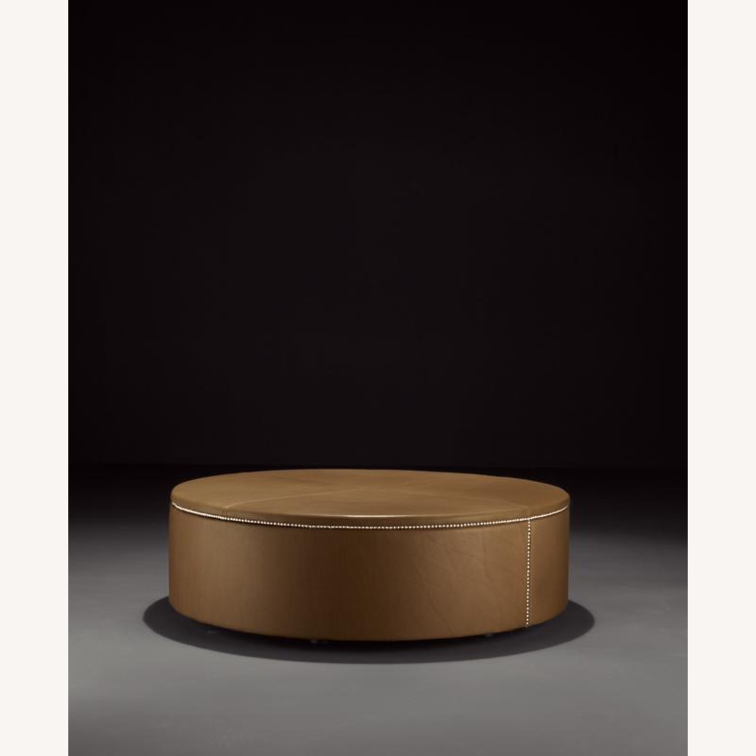 DDC Black Leather Ottoman - image-1