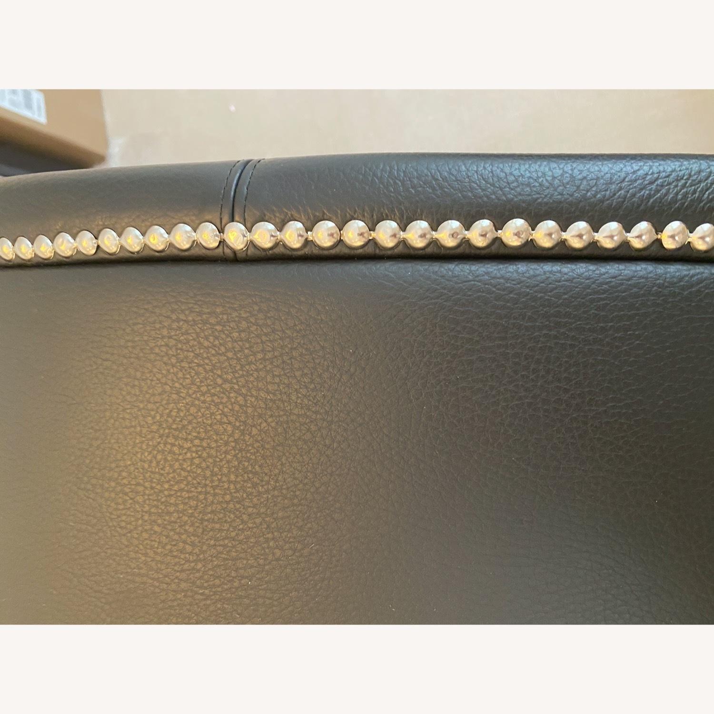 DDC Black Leather Ottoman - image-4