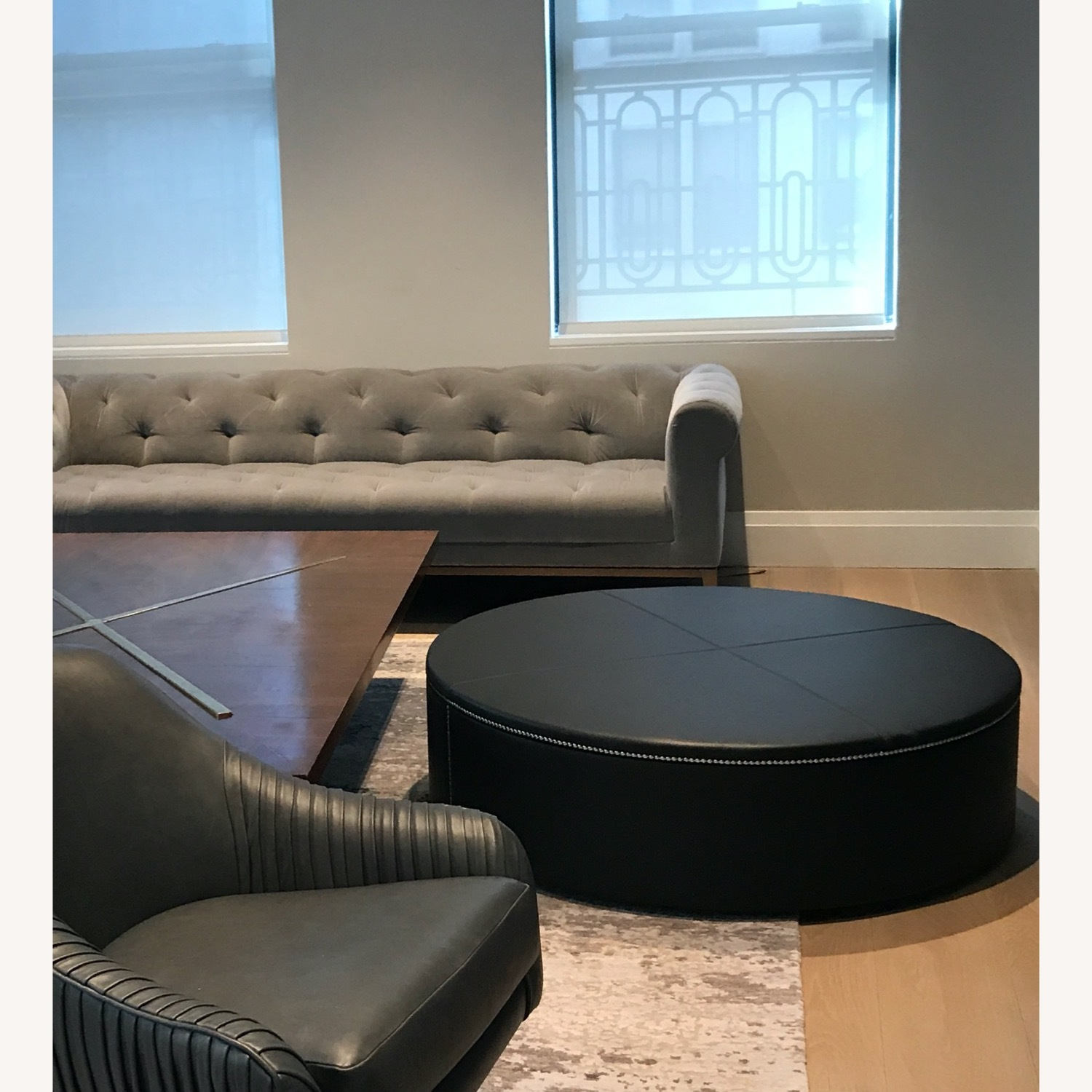 DDC Black Leather Ottoman - image-2