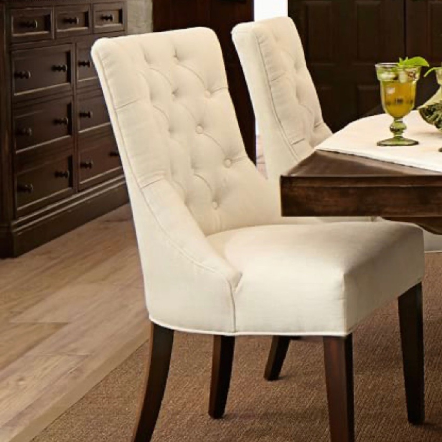 Pottery Barn Oatmeal Tufted Hayes Chair - image-3
