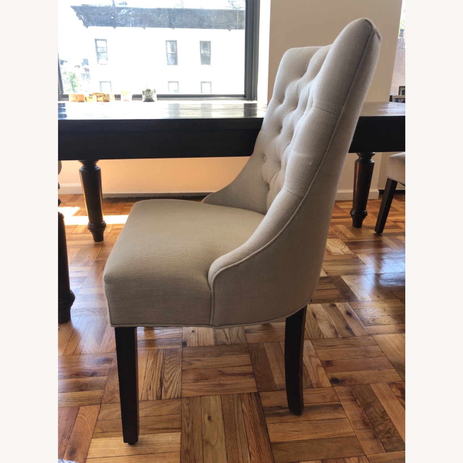 Pottery Barn Oatmeal Tufted Hayes Chair - image-9