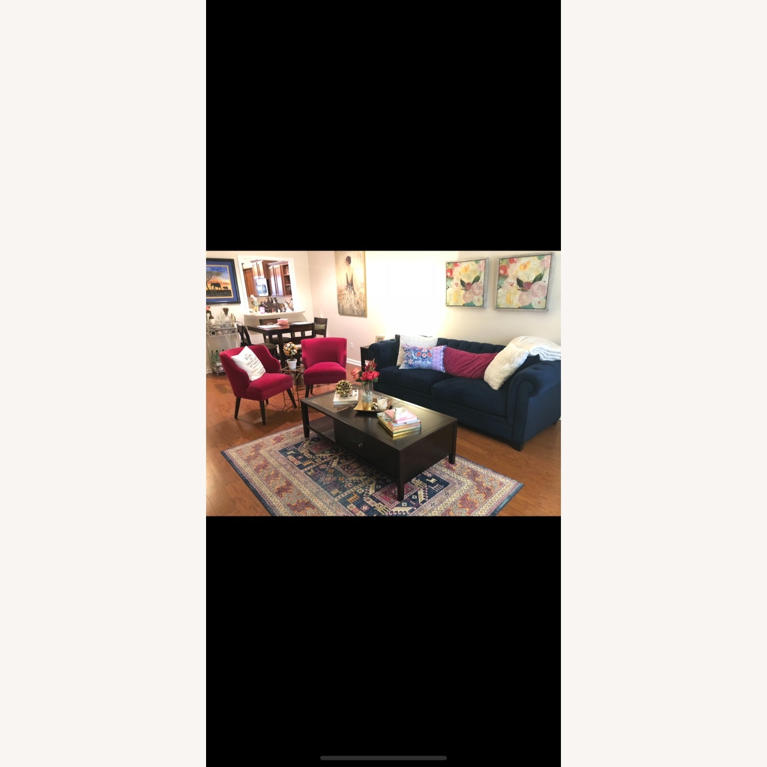 Macy's Martha Stewart Collection Navy Couch - image-2