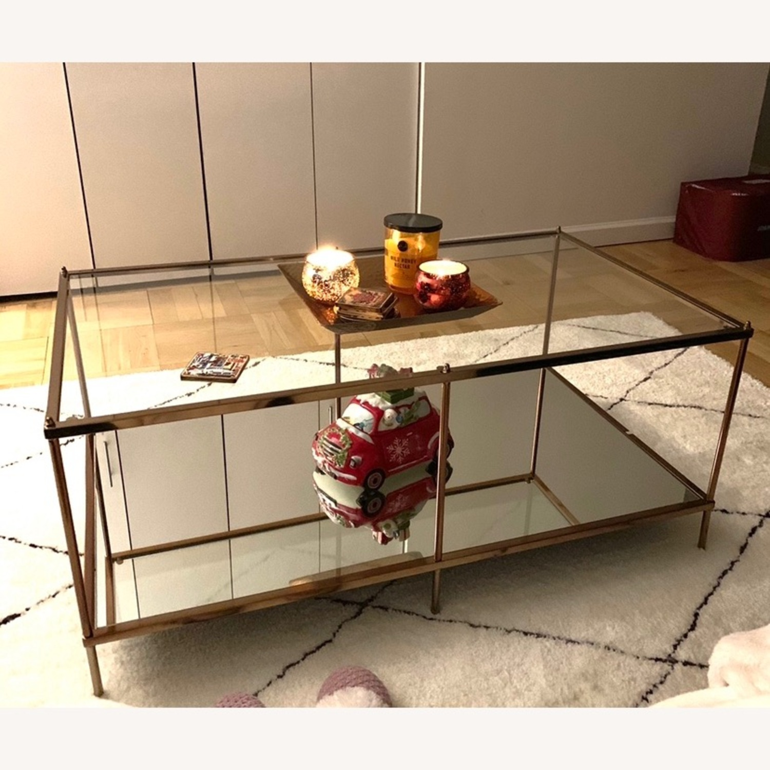 Macy's Glass Coffee Table with Metal Frame - image-2