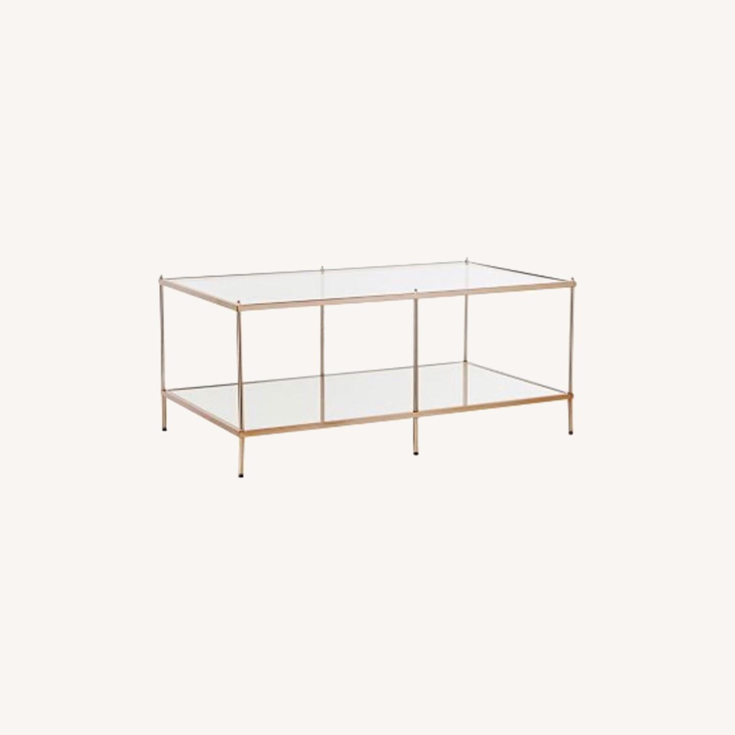 Macy's Glass Coffee Table with Metal Frame - image-0