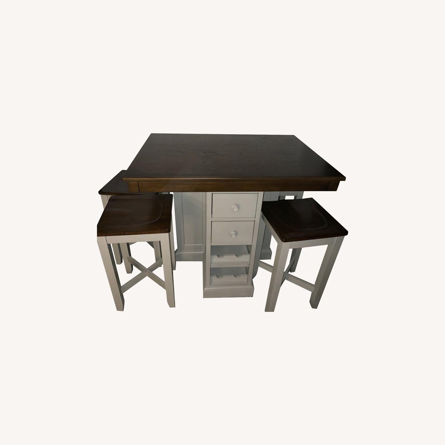 Raymour & Flanigan 4 Seat High Dining Table w/ Storage Space - image-0