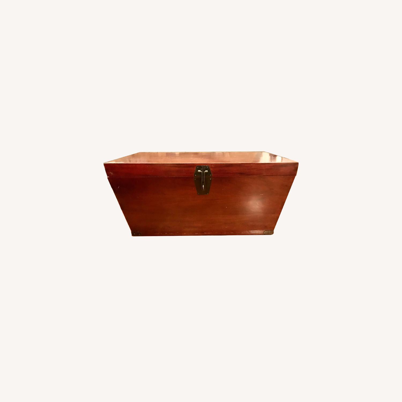 Antique Wood Storage Trunk - image-0