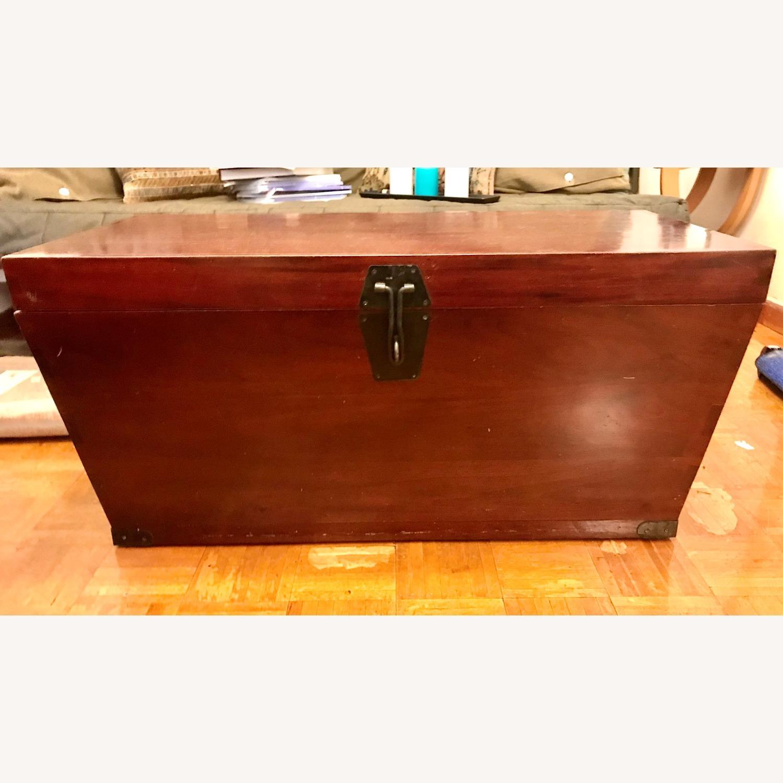 Antique Wood Storage Trunk - image-1