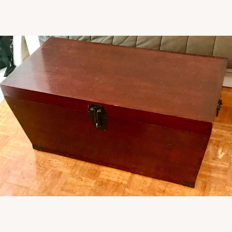 Antique Wood Storage Trunk - image-2