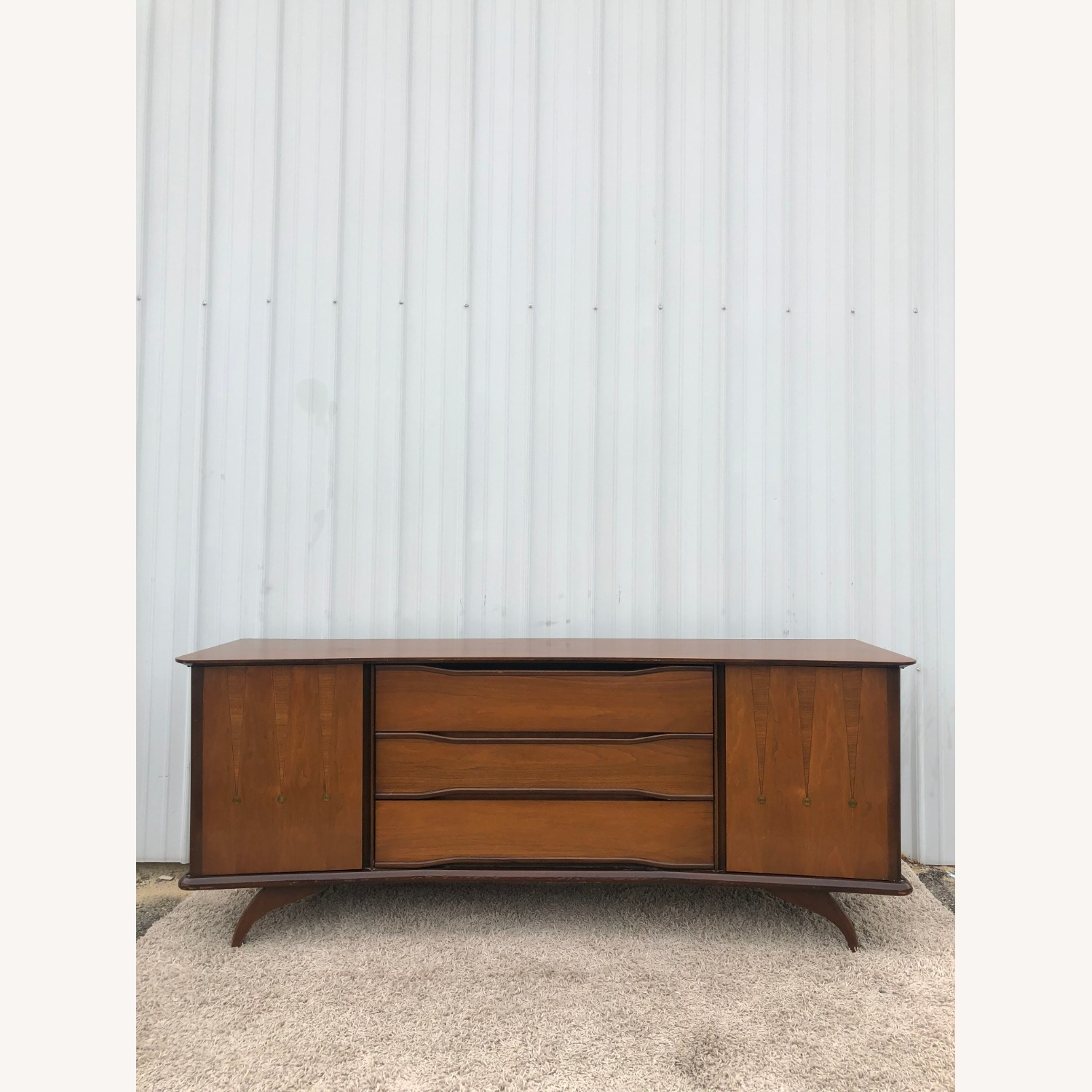 Mid Century Lowboy Dresser with Brasss Accents - image-16
