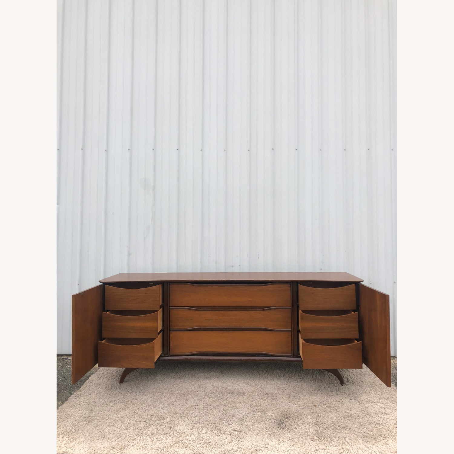 Mid Century Lowboy Dresser with Brasss Accents - image-11