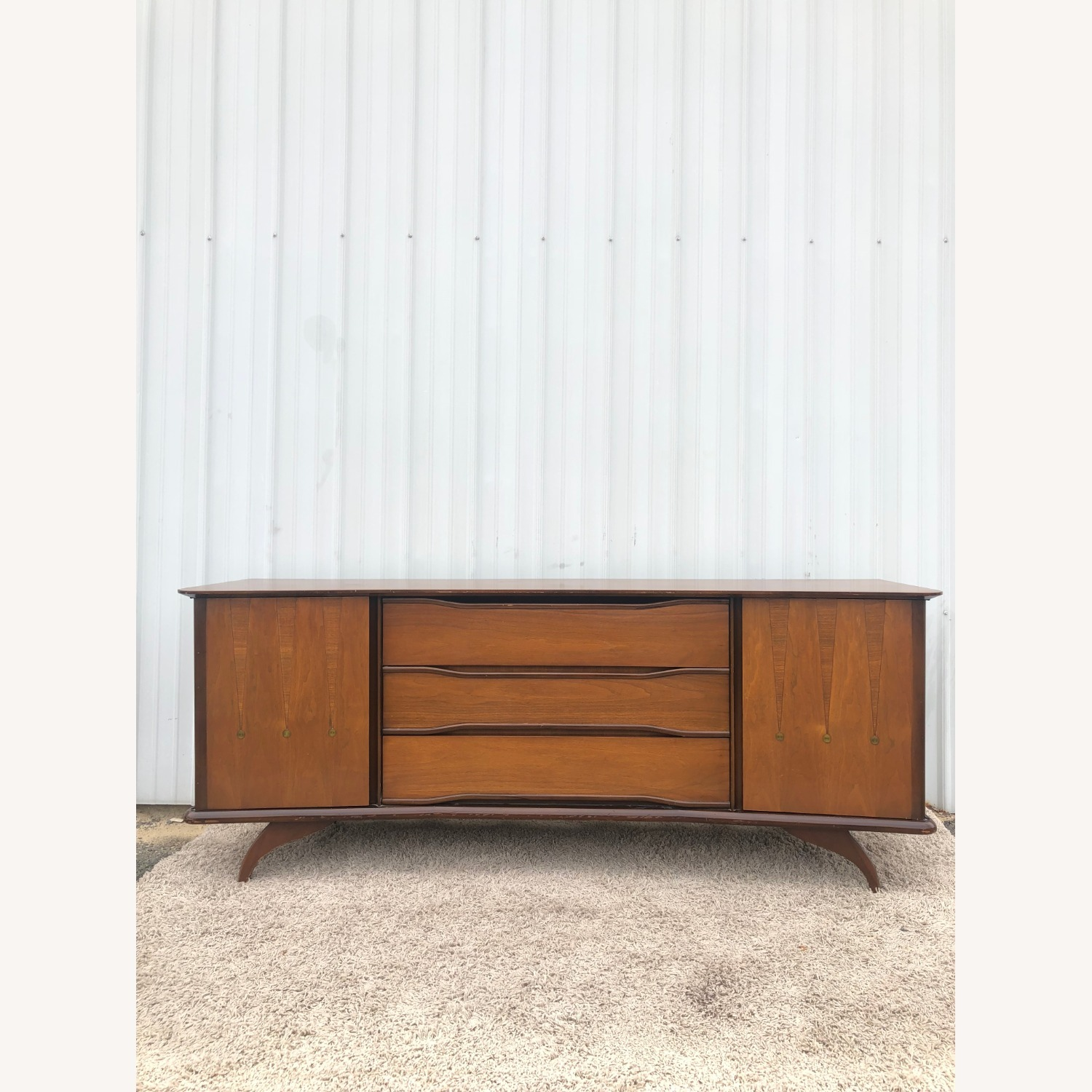 Mid Century Lowboy Dresser with Brasss Accents - image-2