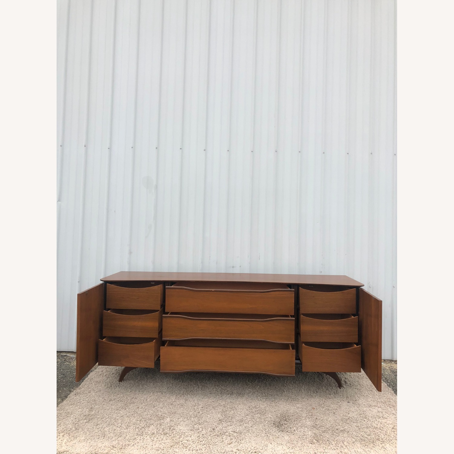 Mid Century Lowboy Dresser with Brasss Accents - image-15