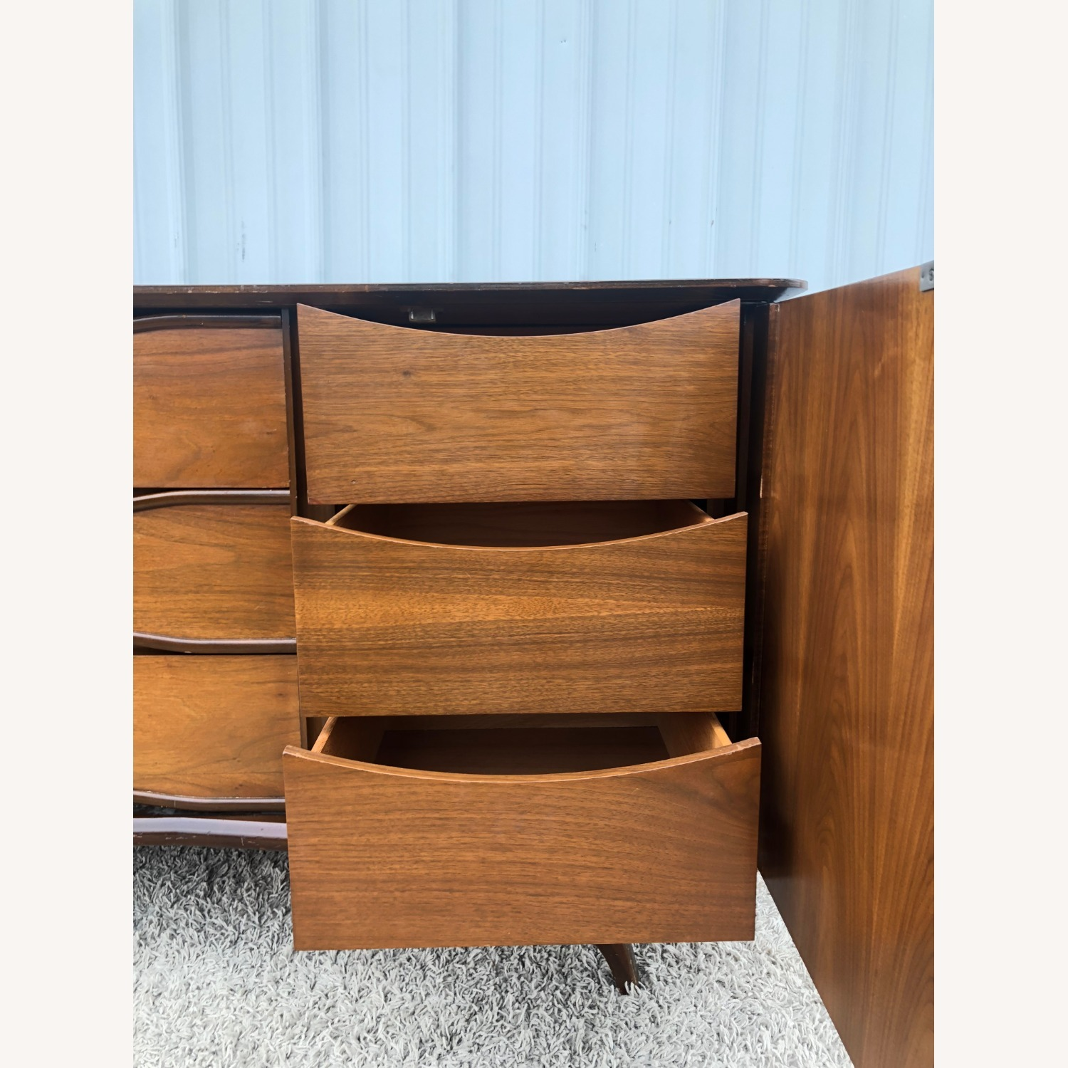 Mid Century Lowboy Dresser with Brasss Accents - image-14