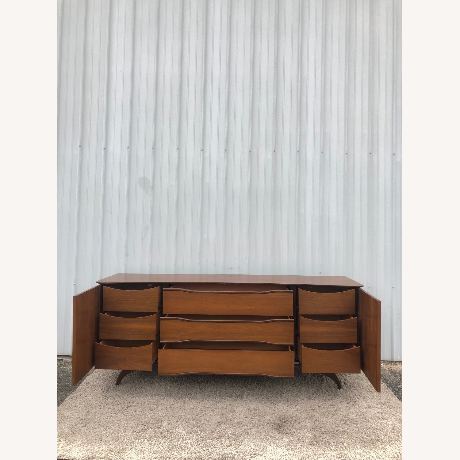 Mid Century Lowboy Dresser with Brasss Accents - image-17