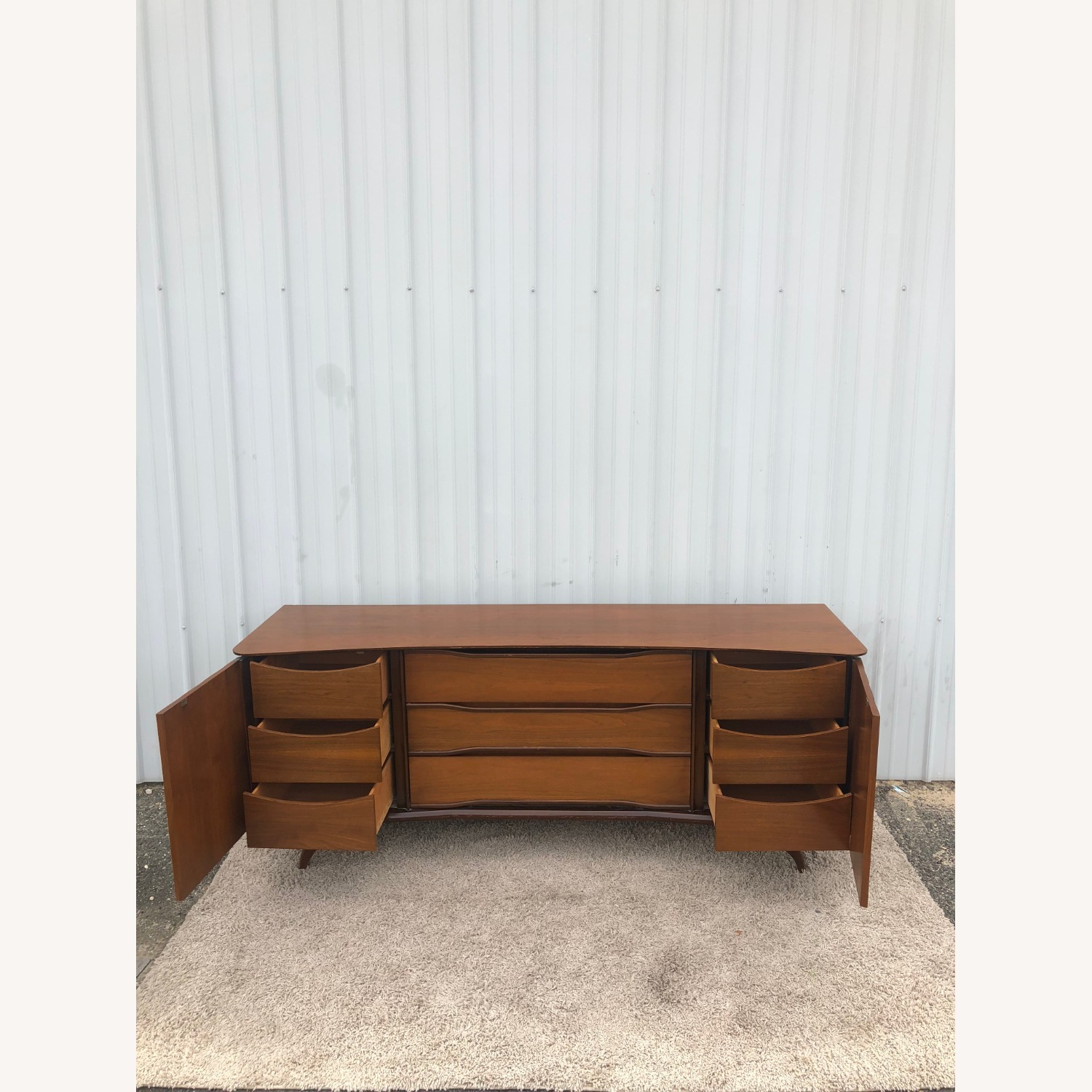 Mid Century Lowboy Dresser with Brasss Accents - image-12