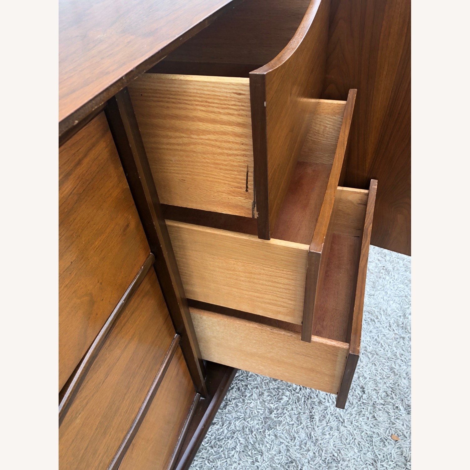 Mid Century Lowboy Dresser with Brasss Accents - image-13