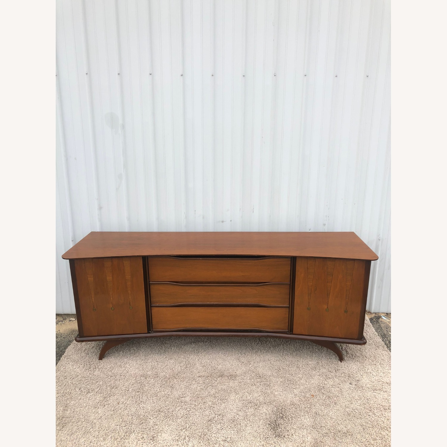 Mid Century Lowboy Dresser with Brasss Accents - image-3
