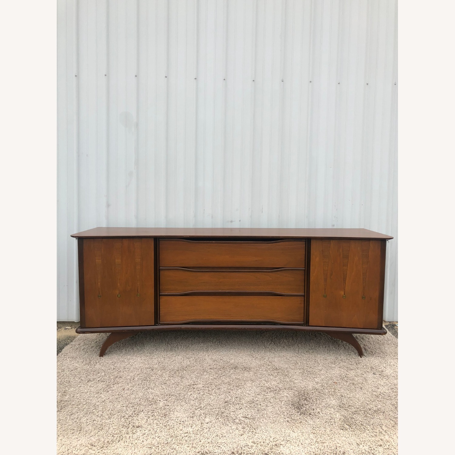 Mid Century Lowboy Dresser with Brasss Accents - image-10