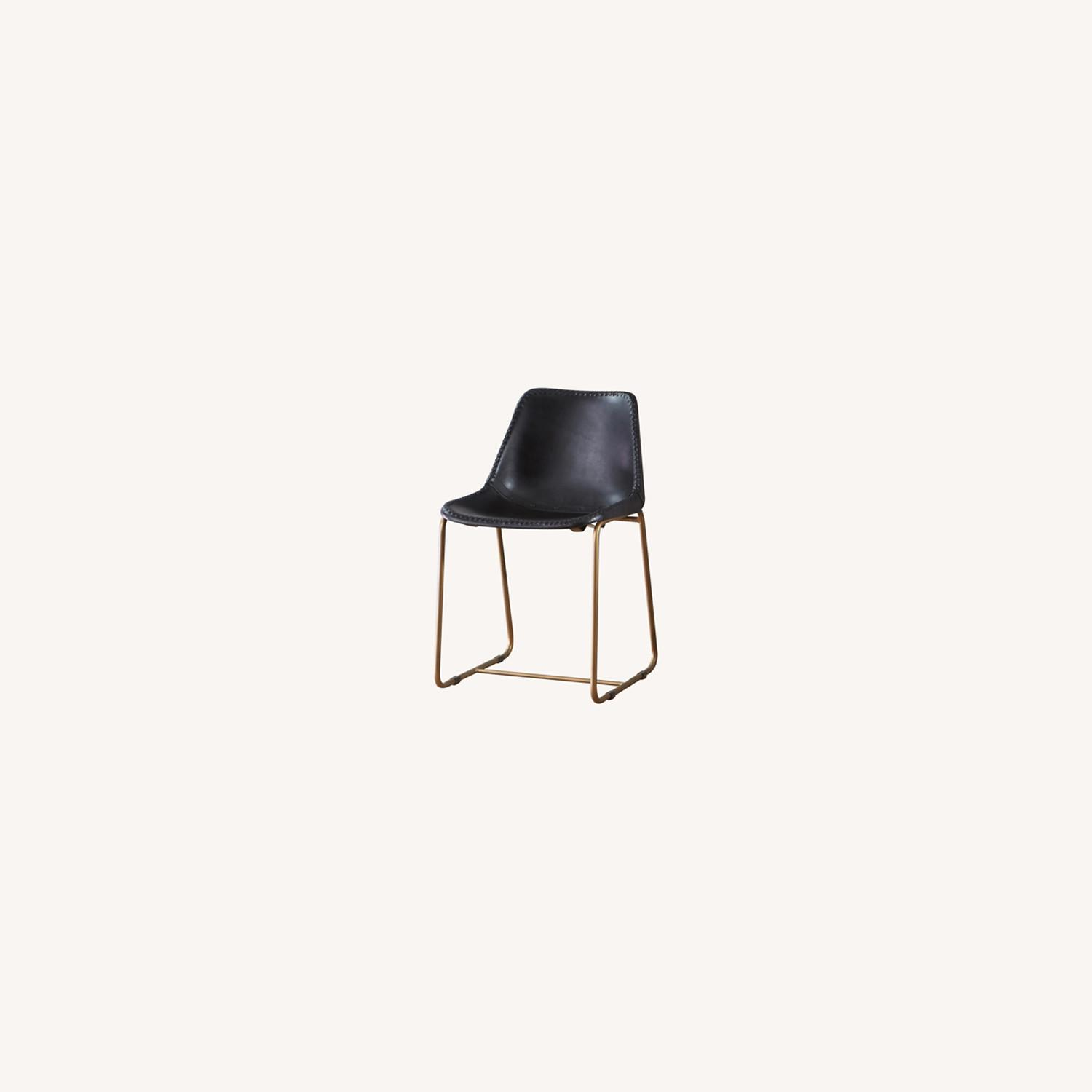 CB2 Roadhouse Black Leather Dining Chairs - image-0