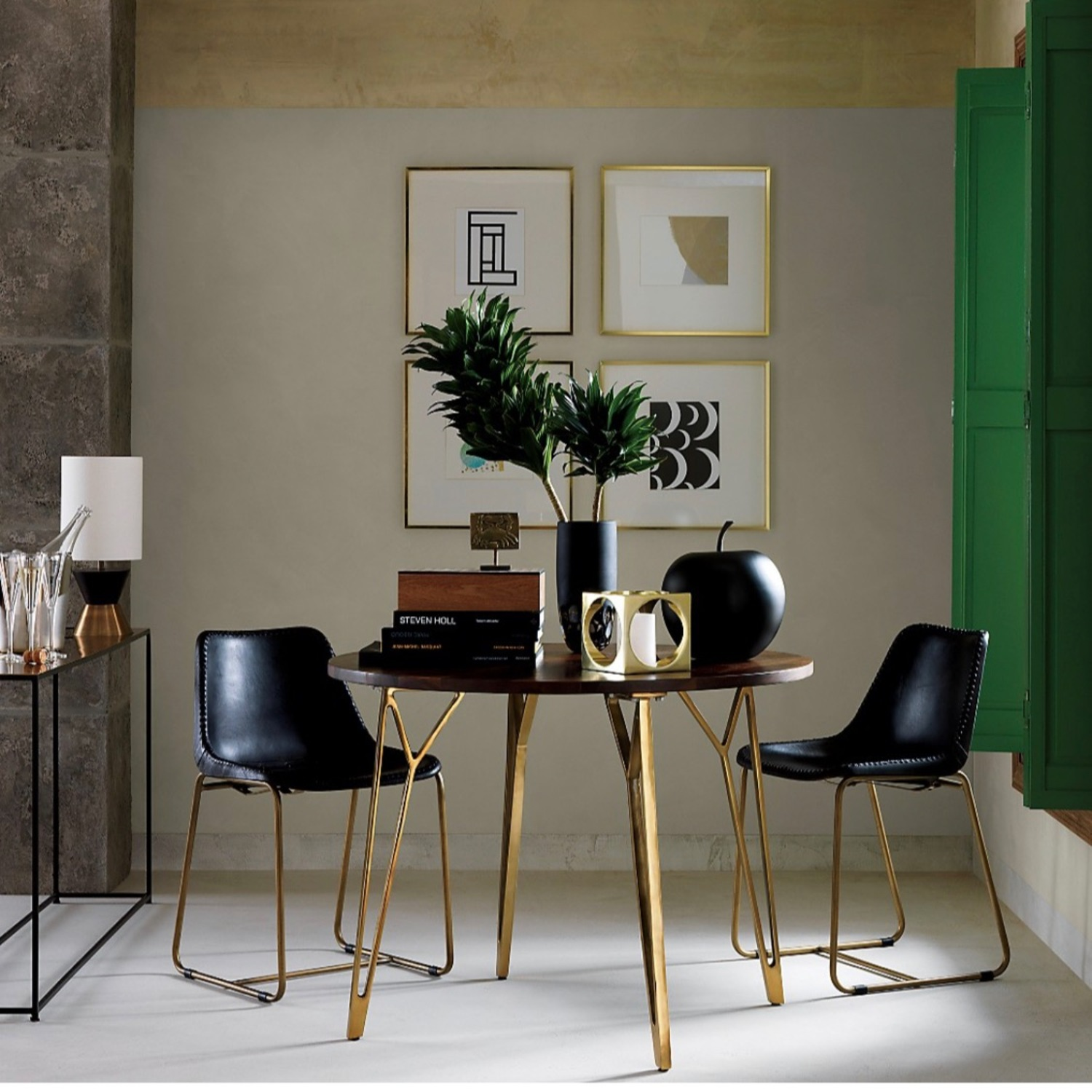 CB2 Roadhouse Black Leather Dining Chairs - image-2
