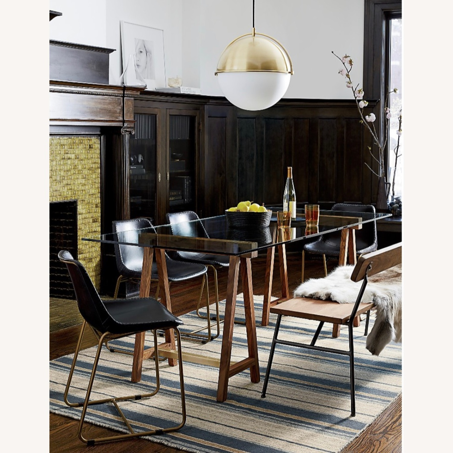 CB2 Roadhouse Black Leather Dining Chairs - image-6