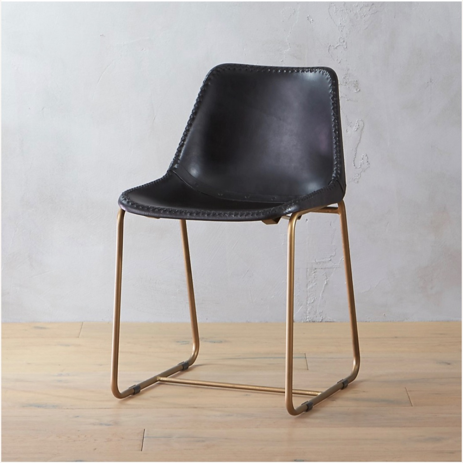 CB2 Roadhouse Black Leather Dining Chairs - image-1