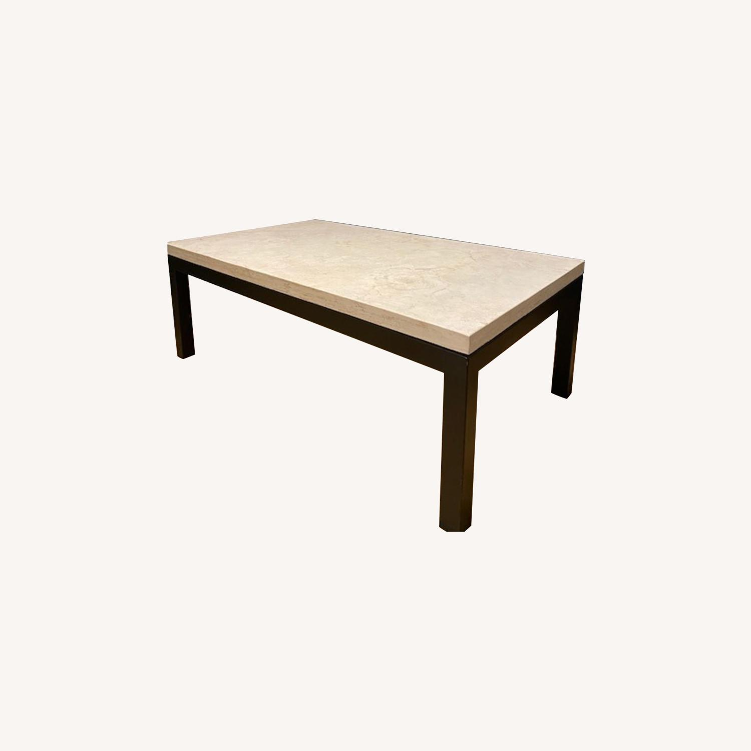 Crate & Barrel Marble Top Coffee Table - image-0
