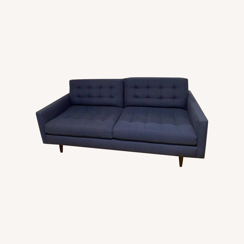 Crate & Barrel Blue Petrie Apartment Sofa - image-0