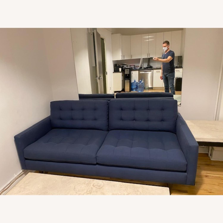 Crate & Barrel Blue Petrie Apartment Sofa - image-1