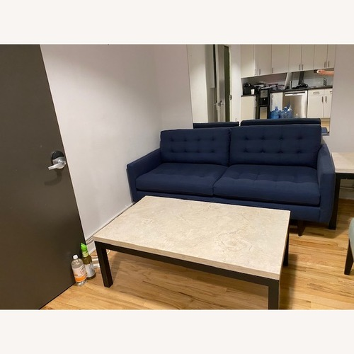 Used Crate & Barrel Blue Petrie Apartment Sofa for sale on AptDeco
