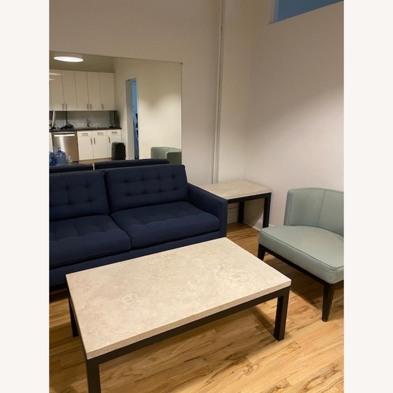 Crate & Barrel Blue Petrie Apartment Sofa - image-3