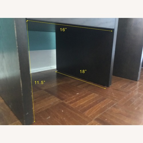 Used West Elm Dark Brown Wood Glass Top Tables Set for sale on AptDeco