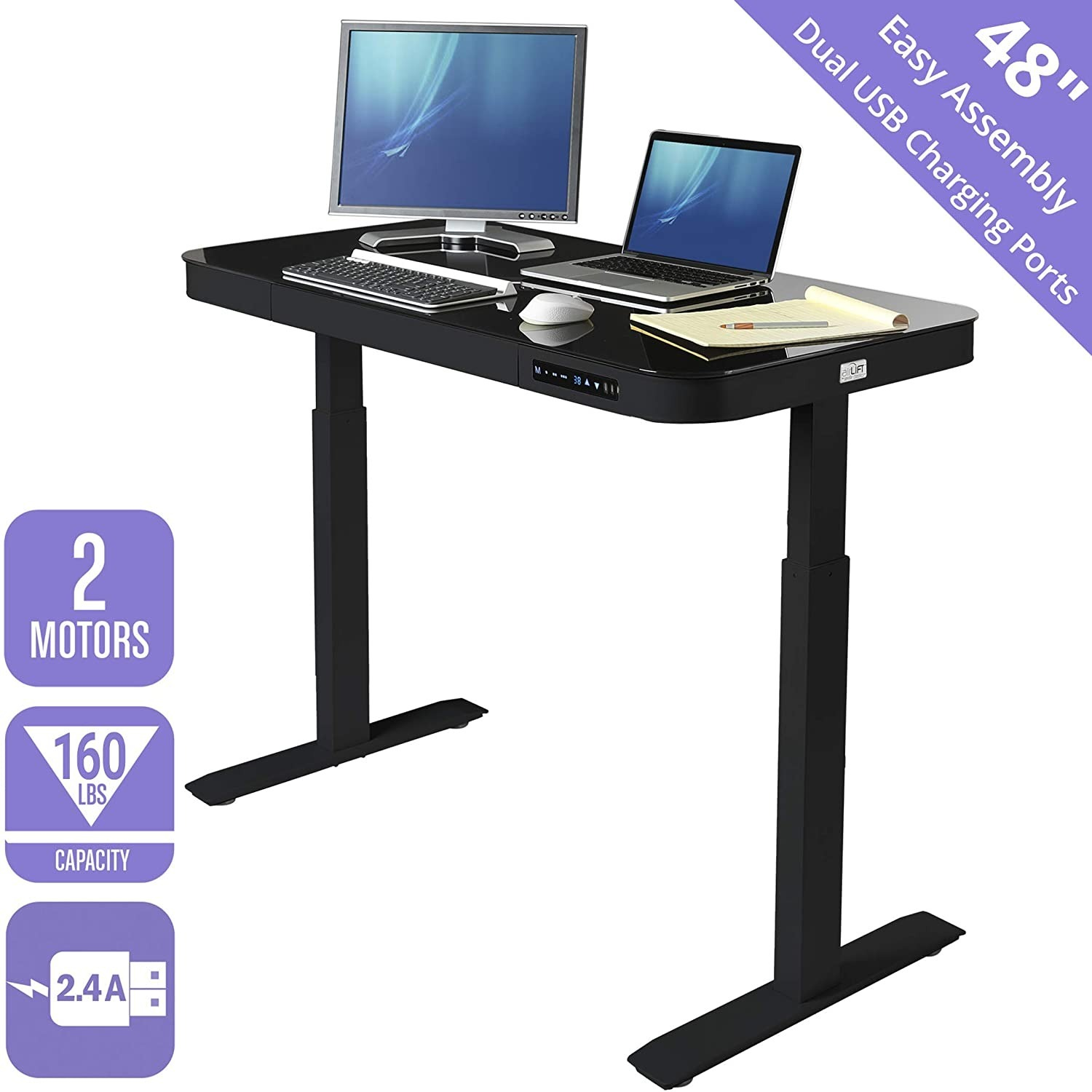 Airlift Glass Electric Standing Desk - image-0