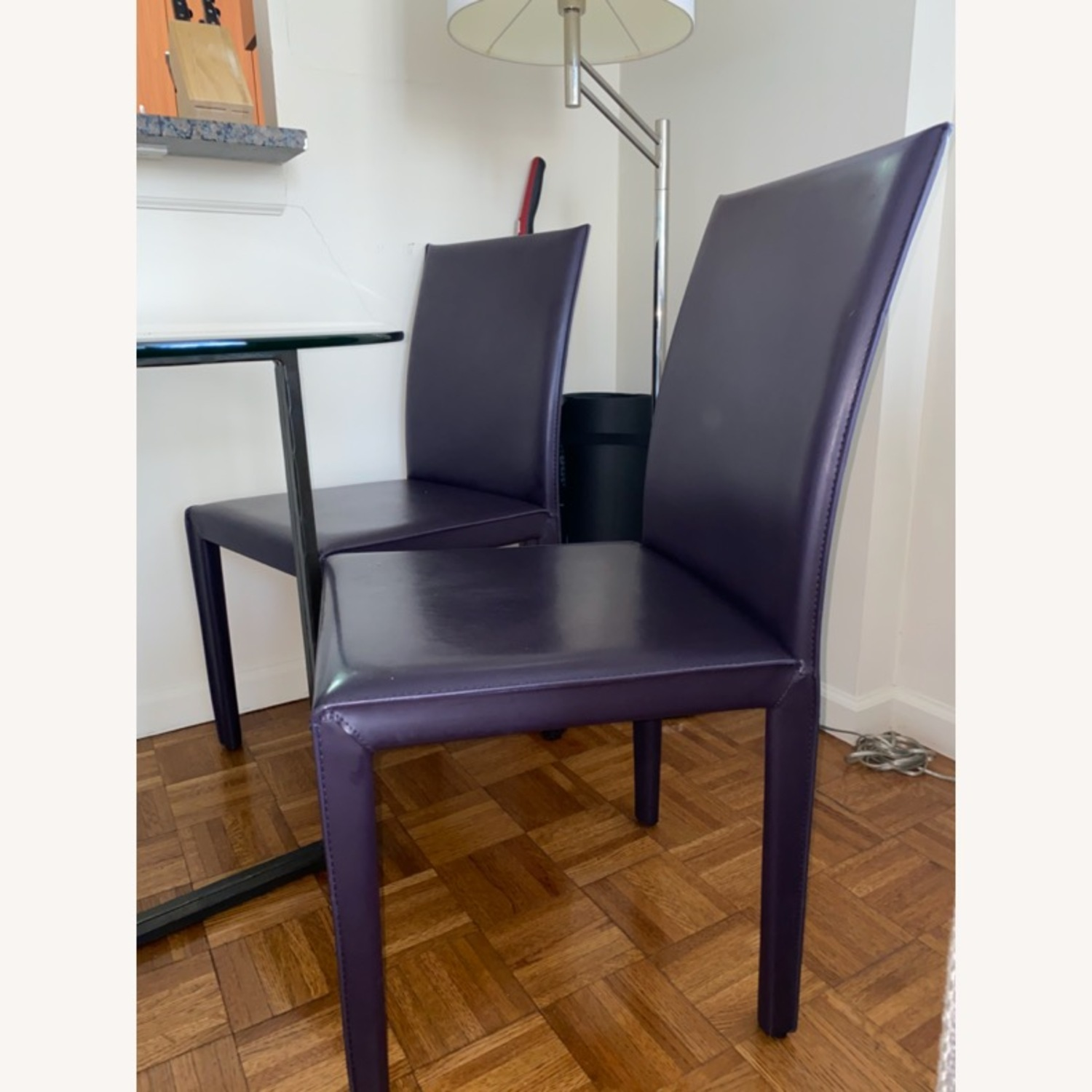 Crate & Barrel Purple Leather Dining Room Chairs - image-2