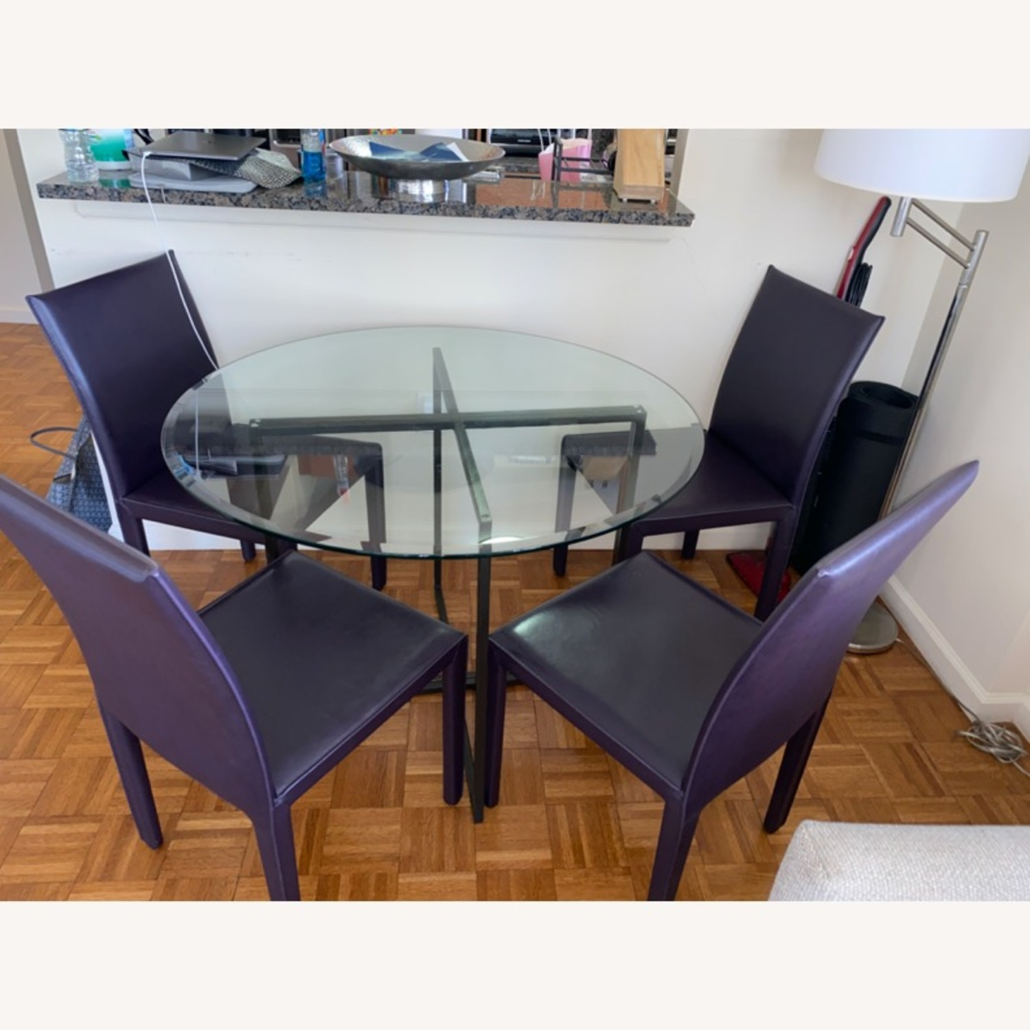 Crate & Barrel Purple Leather Dining Room Chairs - image-1
