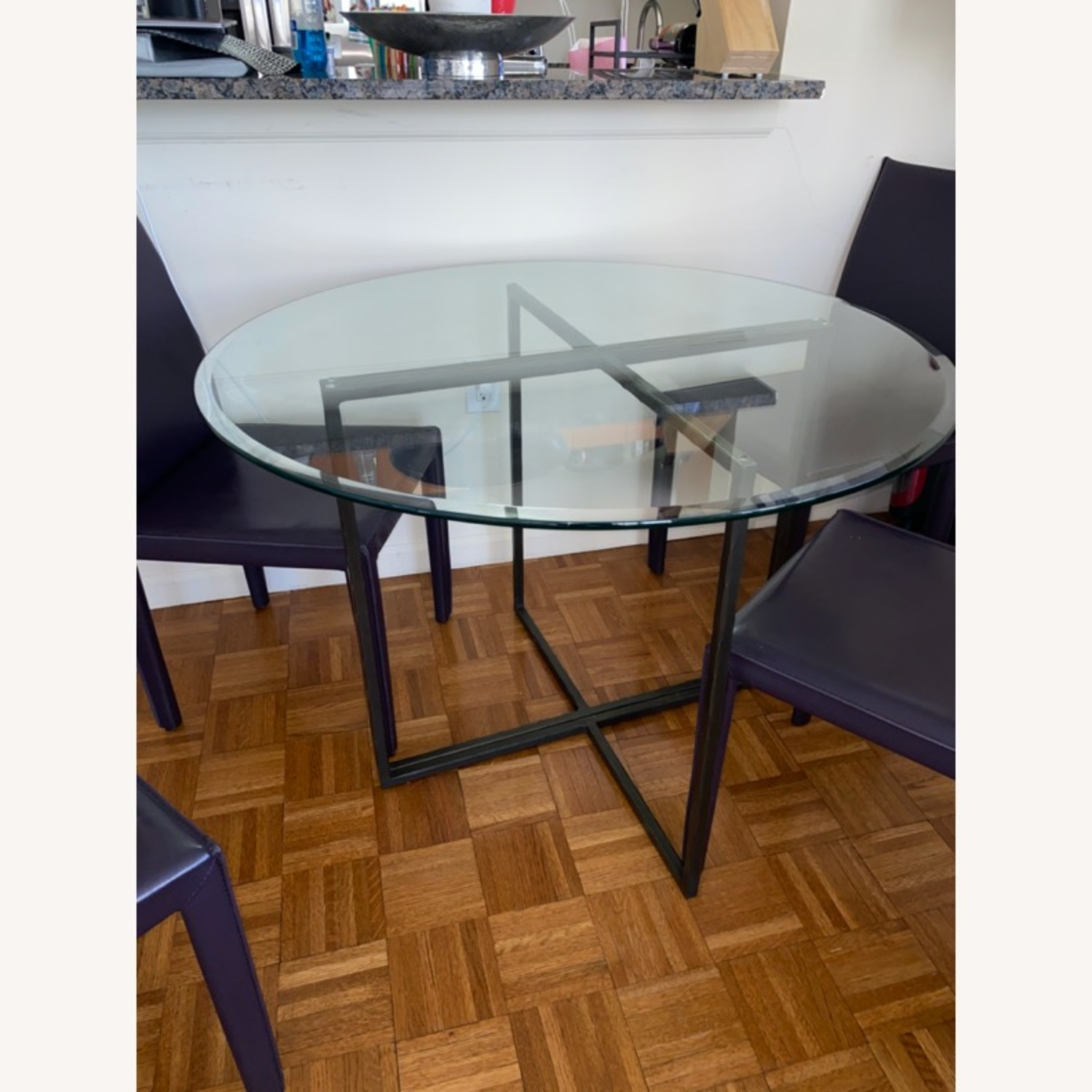 Create & Barrel Glass Dining Table - image-0