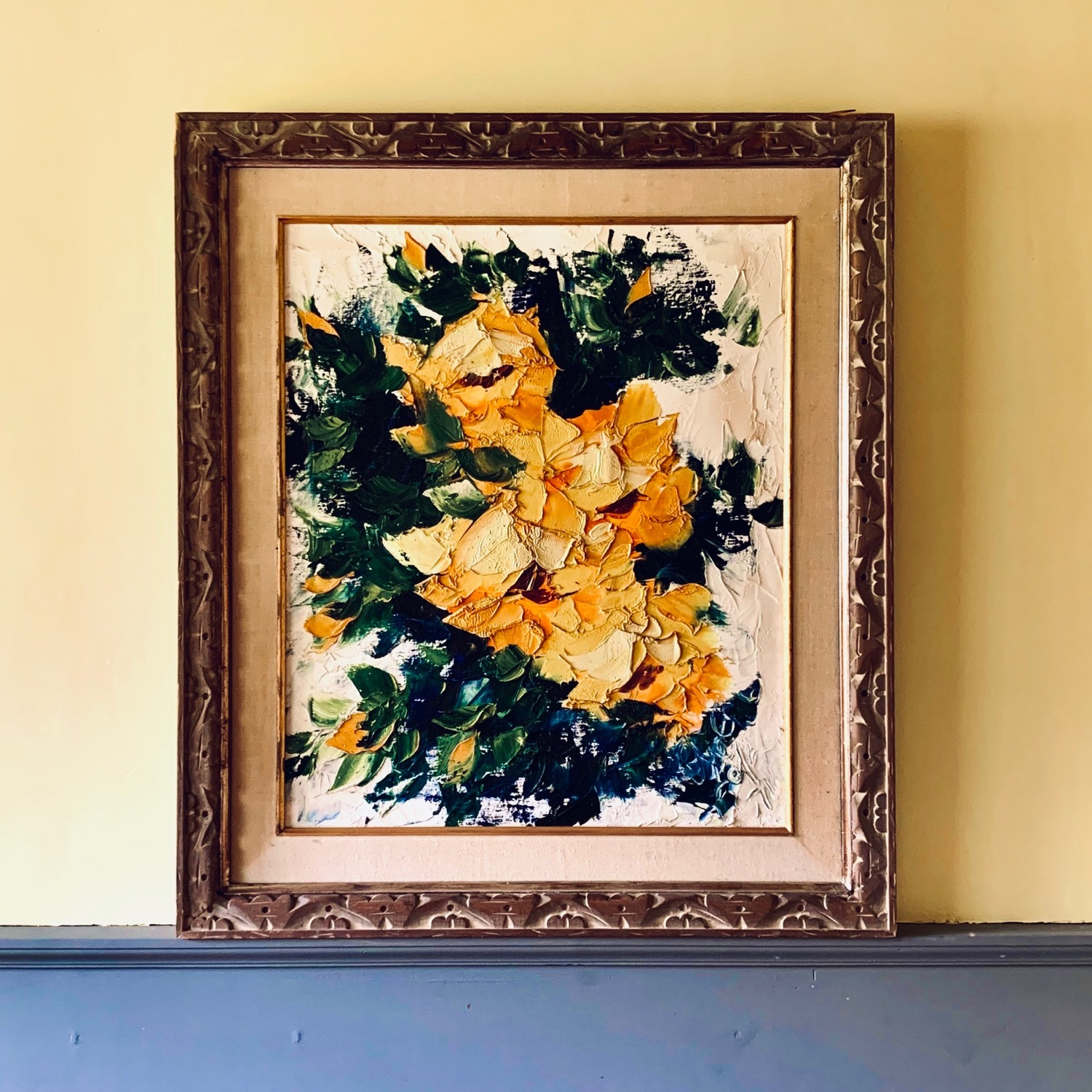 Large Midcentury Abstract Flowers Painting - image-0