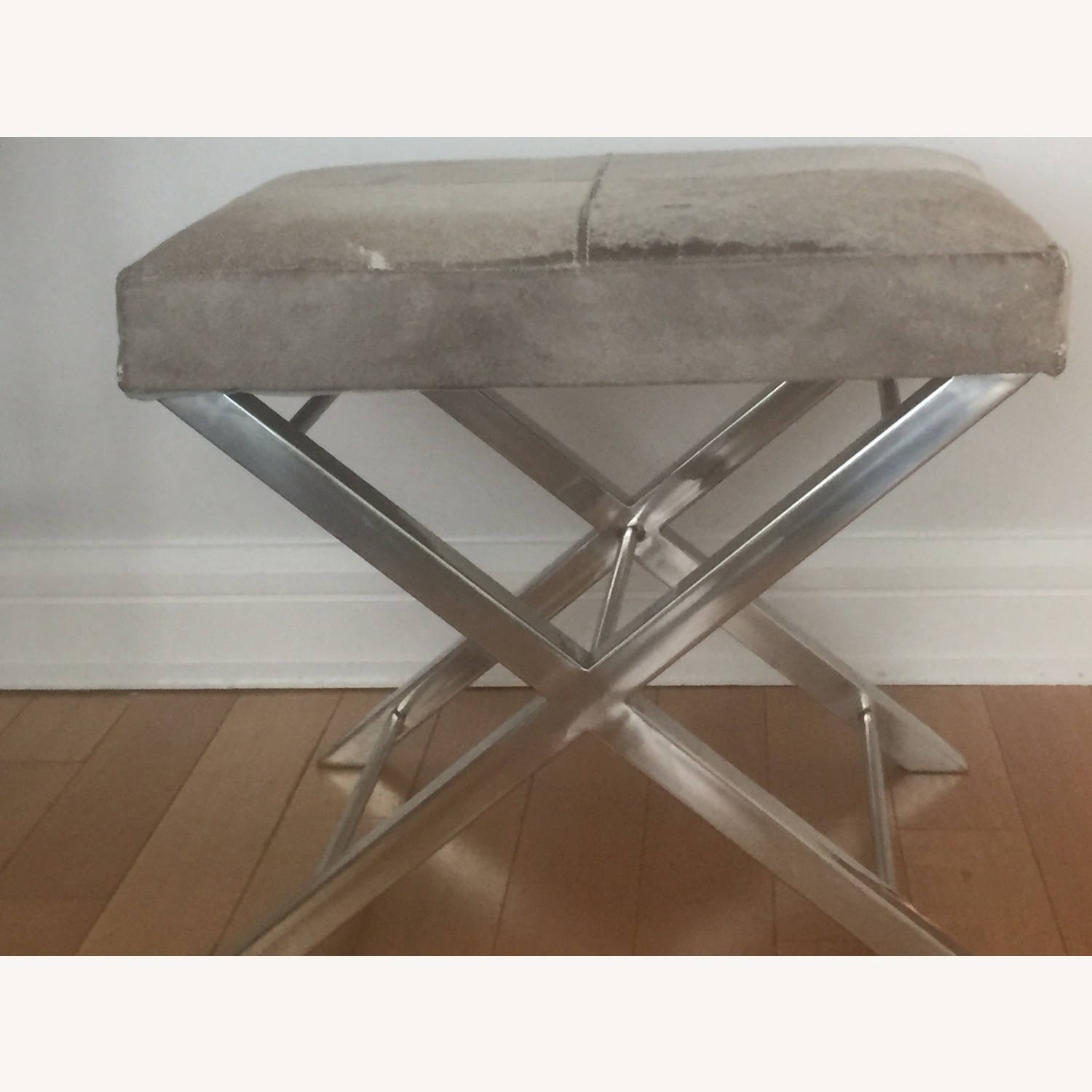 Uma Gray Cowhide and Chrome Bench - image-1