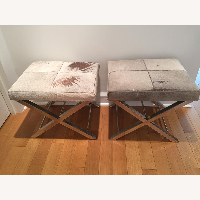 Uma Gray Cowhide and Chrome Bench - image-3