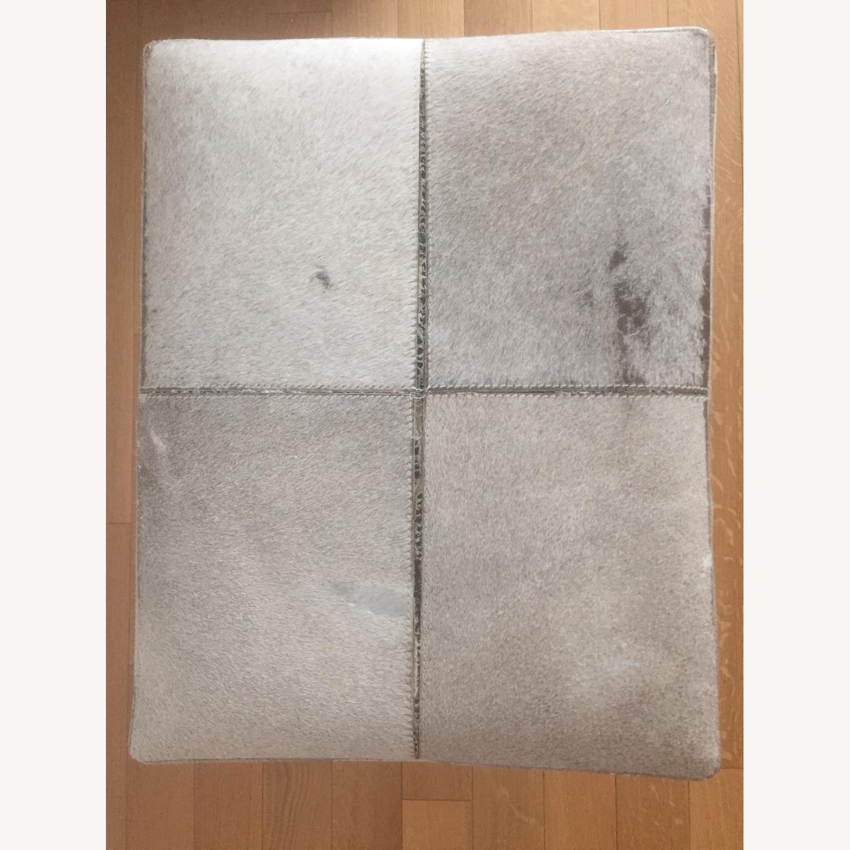 Uma Gray Cowhide and Chrome Bench - image-2