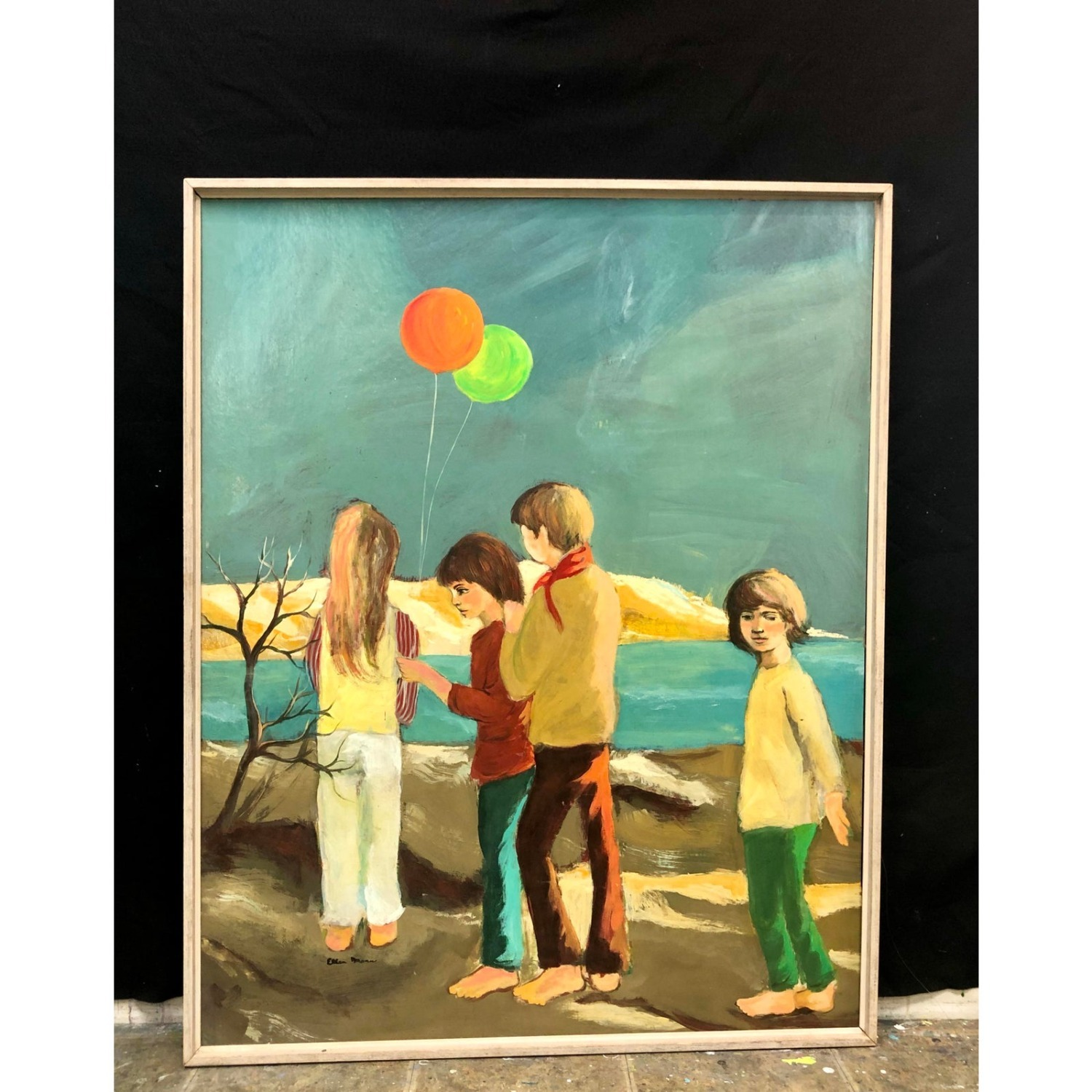 Cape Cod Children Vintage 1970s Painting - image-1