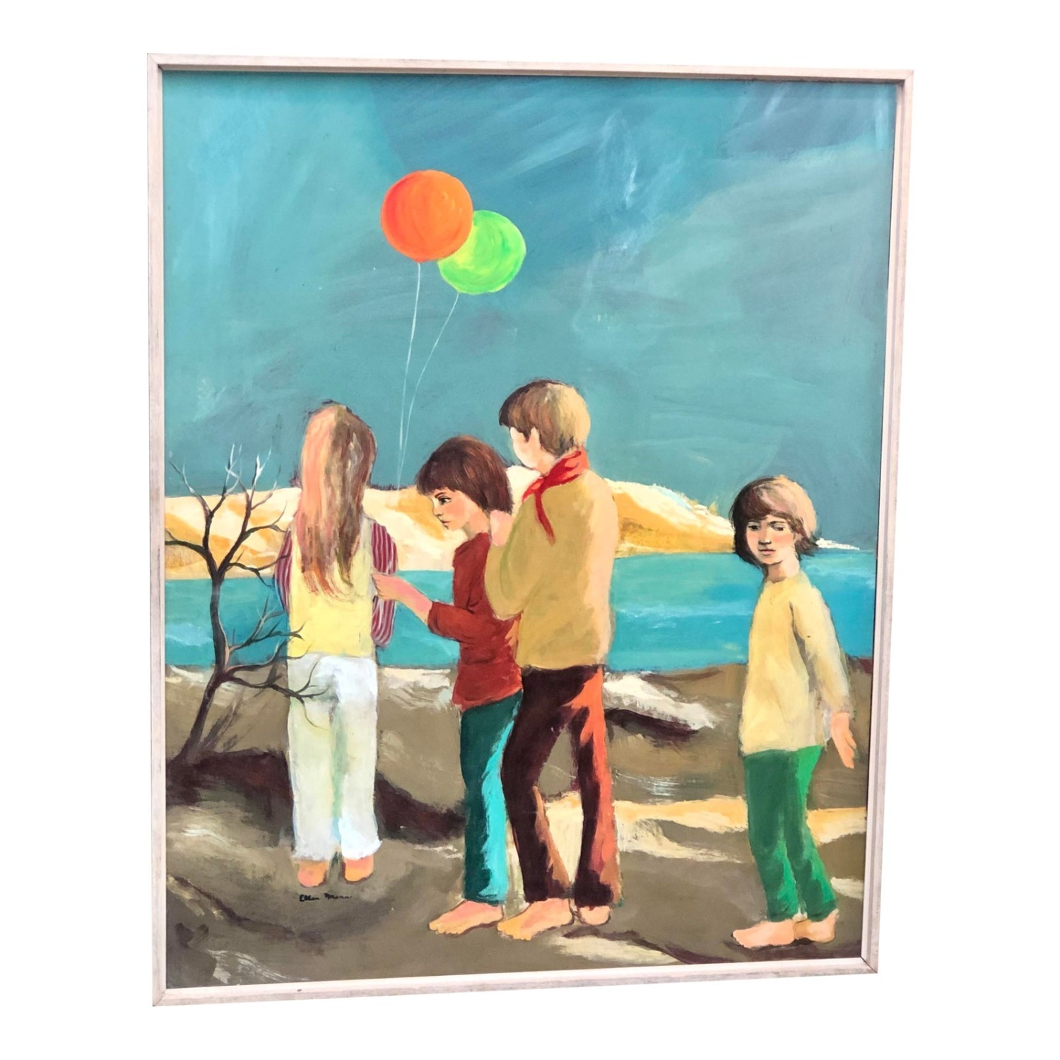 Cape Cod Children Vintage 1970s Painting - image-3