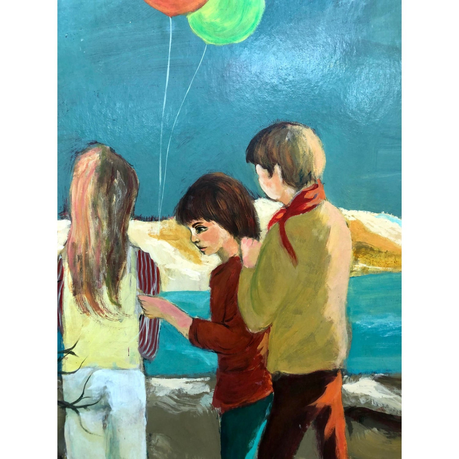 Cape Cod Children Vintage 1970s Painting - image-5